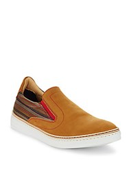 Robert Graham Leather Slip On Sneaker Brown