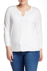 Susina Solid Cardian Plus Size White