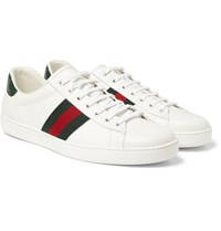 Gucci Crocodile Trimmed Leather Sneakers White