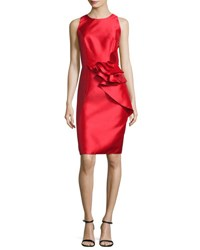 Carmen Marc Valvo Sleeveless Ruffle Trim Satin Cocktail Dress Royal Red