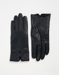Totes Leather Glove With Quilted Cuff Detail Navy