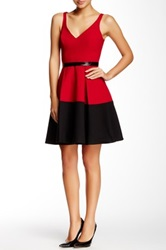A.B.S. By Allen Schwartz Deep V Neck Fit And Flare Cocktail Dress Red