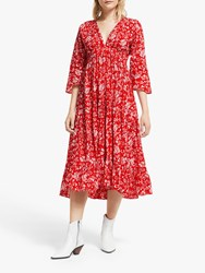And Or La Galeria Elefante Mexicana Fern Print Tiered Maxi Dress Red Ivory