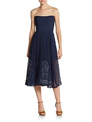 Nicholas Strapless Dot Lace Fit And Flare Dress Navy