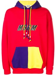 Msgm Colour Block Hoodie Red