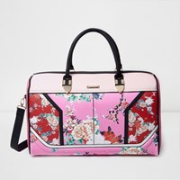 River Island Womens Pink And Red Floral Print Weekend Bag