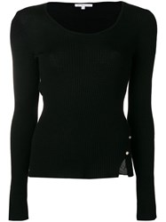 Patrizia Pepe Ribbed Knit Jumper Black