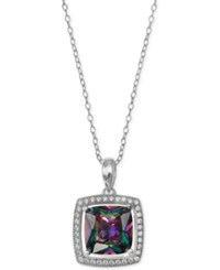 Giani Bernini Mystic Cubic Zirconia Square Halo Pendant Necklace In Sterling Silver Only At Macy's