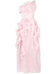 Ermanno Scervino Long Ruffle Dress Pink And Purple