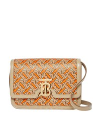 Burberry Small Monogram Print Leather Tb Bag Orange