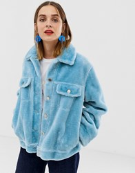 2Nd Day 2Ndday Faux Fur Trucker Jacket Blue