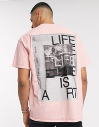 Topman T Shirt With Art Print In Pink
