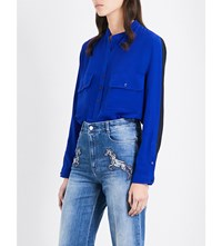Stella Mccartney Loose Fit Silk Crepe Shirt Royal Blue