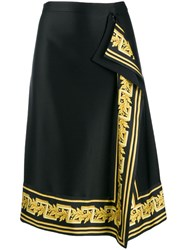 Versace Baroque Trim Midi Skirt Black