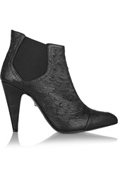 Just Cavalli Leather Ankle Boots Black