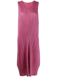 Issey Miyake Pleats Please By Pleated Midi Dress Pink