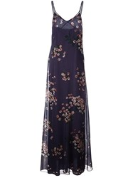 Rochas Floral Print Maxi Dress Pink Purple