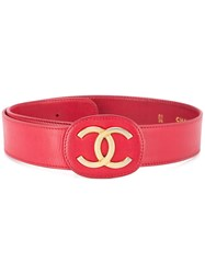 Chanel Vintage Cc Buckle Belt Red