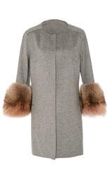 J. Mendel Double Face Cashmere Coat Grey
