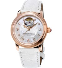 Frederique Constant Fc 310Hbad2p4 Heart Beat Rose Gold Plated Diamond And Alligator Leather Watch White