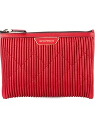 Emporio Armani Zipped Clutch Red