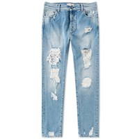 Palm Angels Regular Fit Ripped Jean Blue