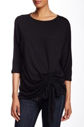 Kikit Elbow Length Sleeve Shirred Side Tie Tee Black