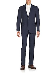 Hart Schaffner Marx Regular Fit Worsted Wool Suit Blue Fancy