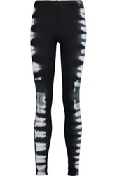 Splendid Tie Dye Stretch Supima Cotton And Modal Blend Piqu And Eacute Leggings Black