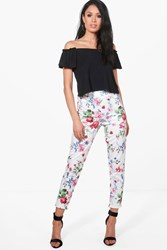 Boohoo Summer Floral Stretch Skinny Trousers Ivory