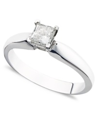 Macy's Certified Princess Cut Diamond Solitaire Engagement Ring In 14K White Gold 3 8 Ct. T.W.