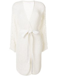 See By Chloe Lace Applique Belted Cardigan Nude And Neutrals