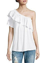 Saks Fifth Avenue Off Shoulder Ruffle Top Chambray