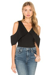 Lavish Alice Plunge Open Sleeve Thong Bodysuit Black
