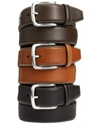 Cole Haan Burnished Edge Leather Belt Chocolate