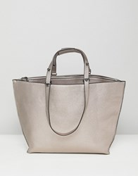 Asos Metallic Structured Shopper Bag With Extendable Handle Pewter Silver