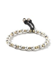 Topman Black Beaded Stretch Bracelet Silver