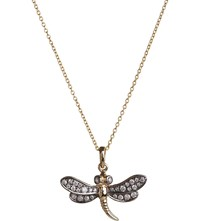 Annoushka Love Diamonds 18Ct Yellow Gold Dragonfly Pendant Necklace Silver