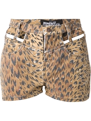 Jeremy Scott Cut Out Leopard Print Shorts Brown