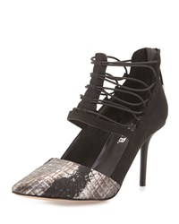 L.A.M.B. May Snake Embossed Caged Pump Black Gunm