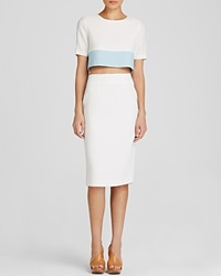 Black Halo Dress Leilani Short Sleeve Color Block Two Piece Sheath Cloud Blue Ice