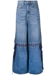 G.V.G.V. Lace Up Wide Leg Jeans Blue