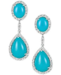Le Vian Robin's Egg Turquoise 10 3 4 Ct. T.W. And White Sapphire 1 5 8 Ct. T.W. Drop Earrings In 14K White Gold