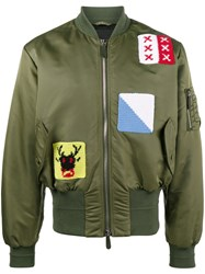 J.W.Anderson Applique Stitch Satin Bomber Jacket Calf Leather Acrylic Polyamide Wool Green