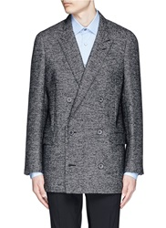 Lanvin Houndstooth Tweed Long Double Breasted Blazer Grey