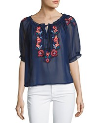 Romeo And Juliet Couture Embroidered Peasant Top White