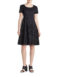 Lafayette 148 New York Doreen Stretch Cotton Fit And Flare Dress Black