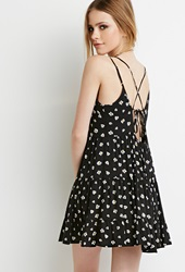 Forever 21 Daisy Print Tiered Dress Black White