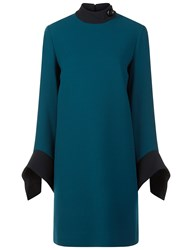 Victoria By Victoria Beckham Green Trim Long Sleeve Dress
