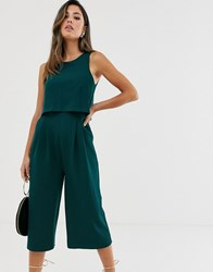 Girl In Mind Sleeveless Layer Culotte Jumpsuit Green